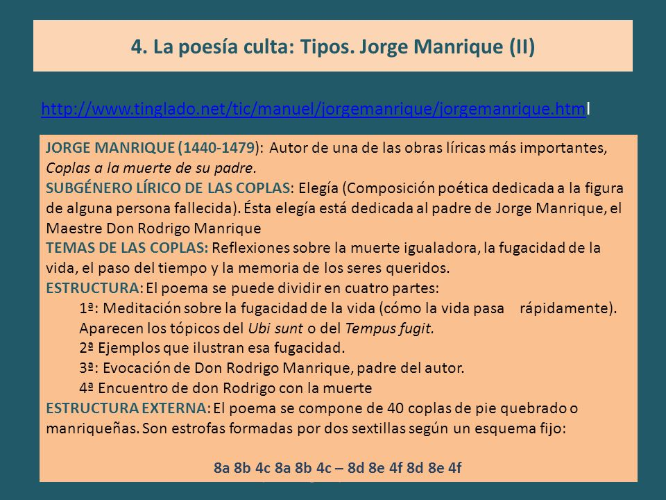 4. La poesía culta: Tipos. Jorge Manrique (II)
