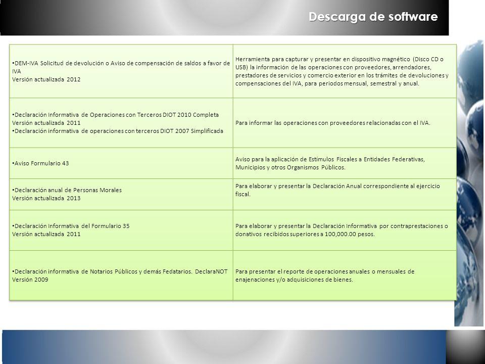 Descarga de software DEM-IVA Solicitud de devolución o Aviso de compensación de saldos a favor de IVA Versión actualizada 2012.