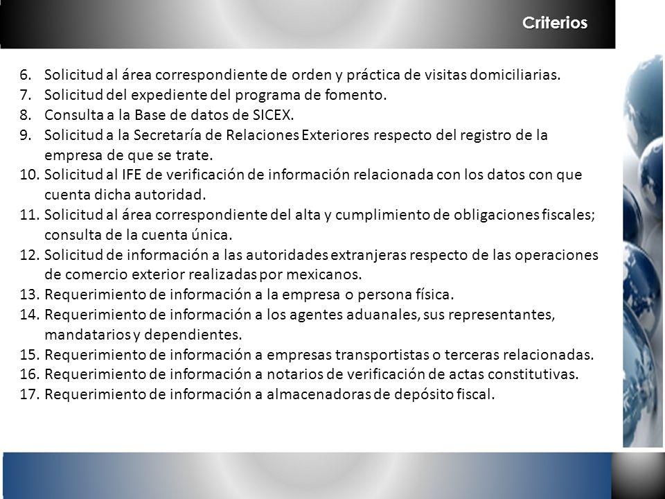 Criterios Solicitud al área correspondiente de orden y práctica de visitas domiciliarias. Solicitud del expediente del programa de fomento.