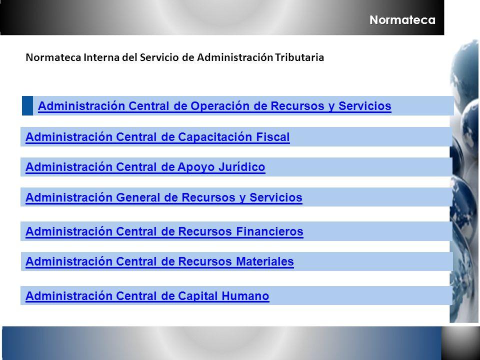 Normateca Normateca Interna del Servicio de Administración Tributaria. Administración Central de Operación de Recursos y Servicios.