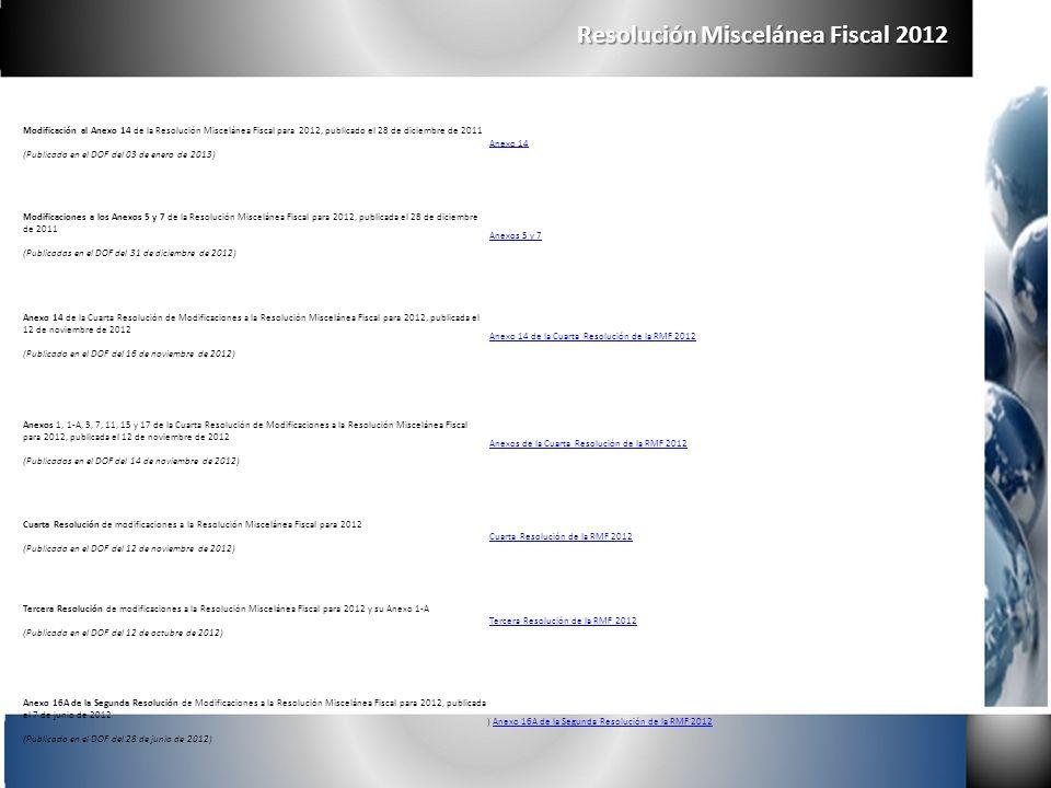 Resolución Miscelánea Fiscal 2012