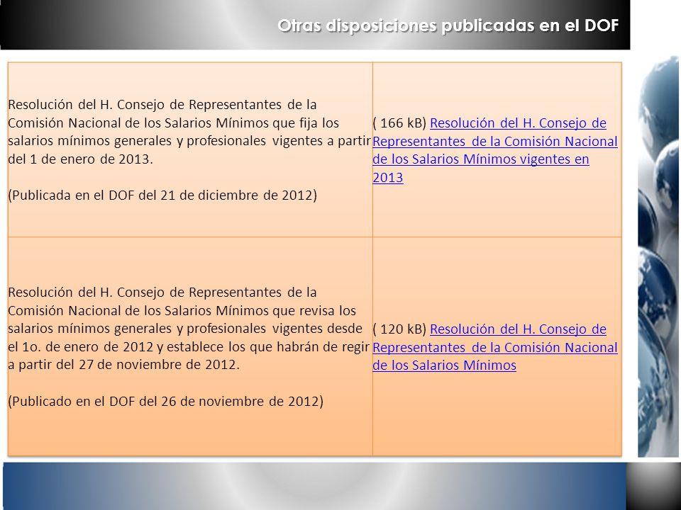 Otras disposiciones publicadas en el DOF