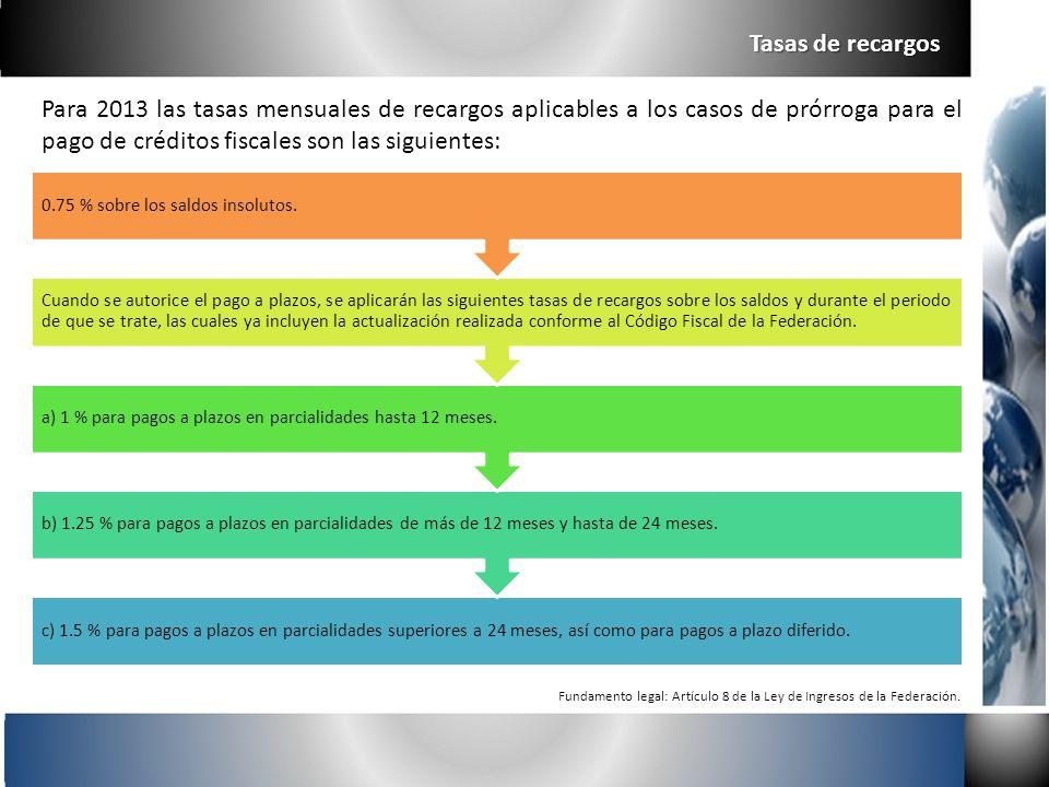 Tasas de recargos Para 2013 las tasas mensuales de recargos aplicables a los casos de prórroga para el pago de créditos fiscales son las siguientes: