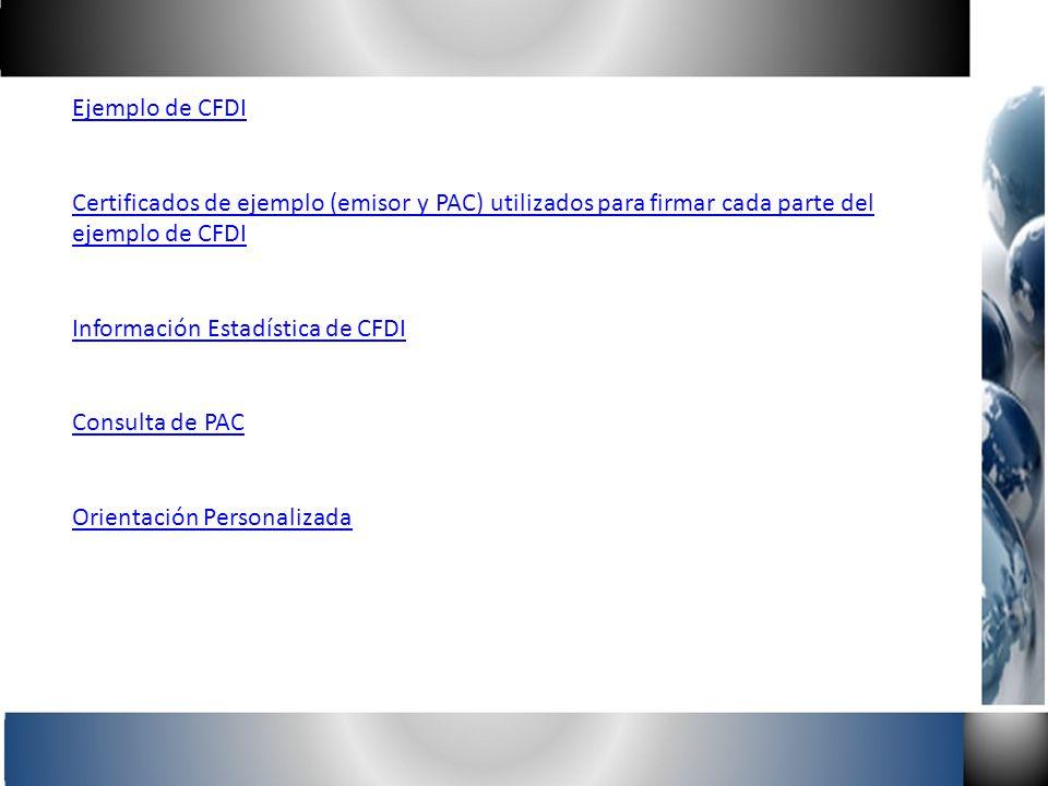 Ejemplo de CFDI Certificados de ejemplo (emisor y PAC) utilizados para firmar cada parte del ejemplo de CFDI.