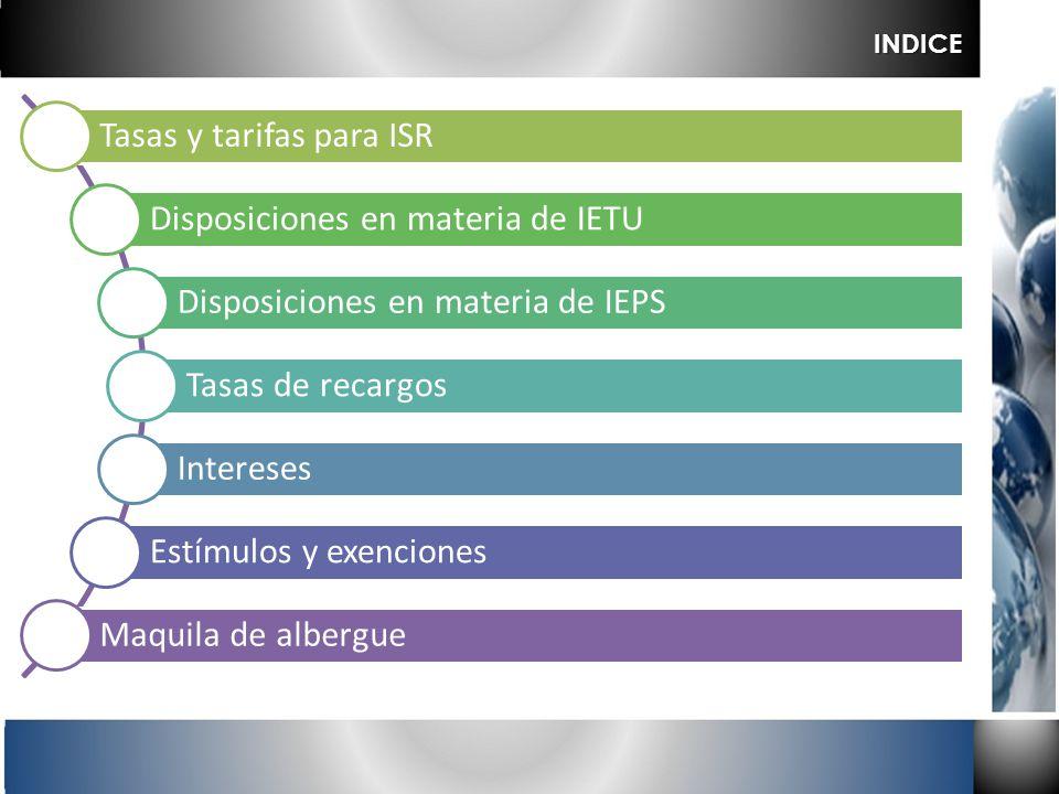 Tasas y tarifas para ISR