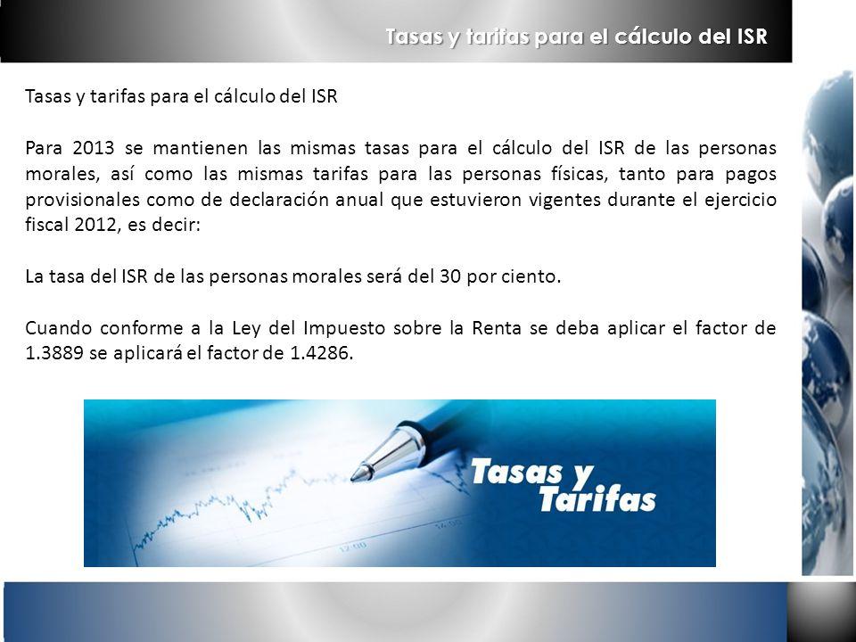 Tasas y tarifas para el cálculo del ISR