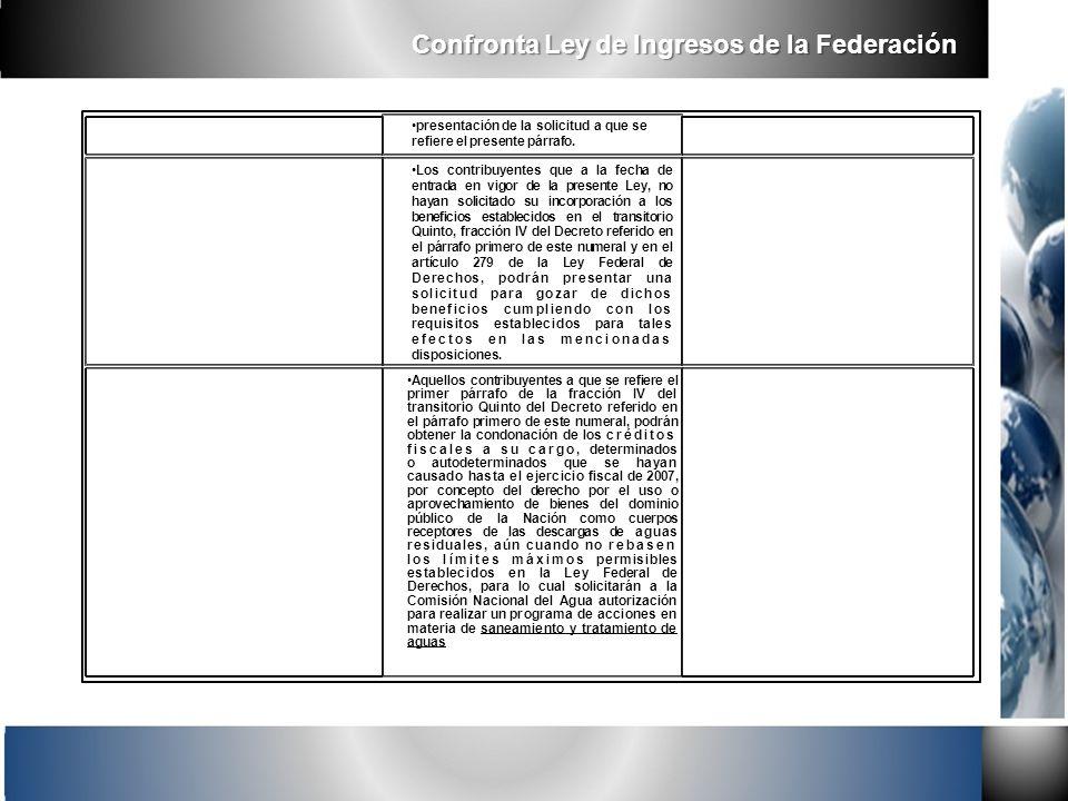 Confronta Ley de Ingresos de la Federación