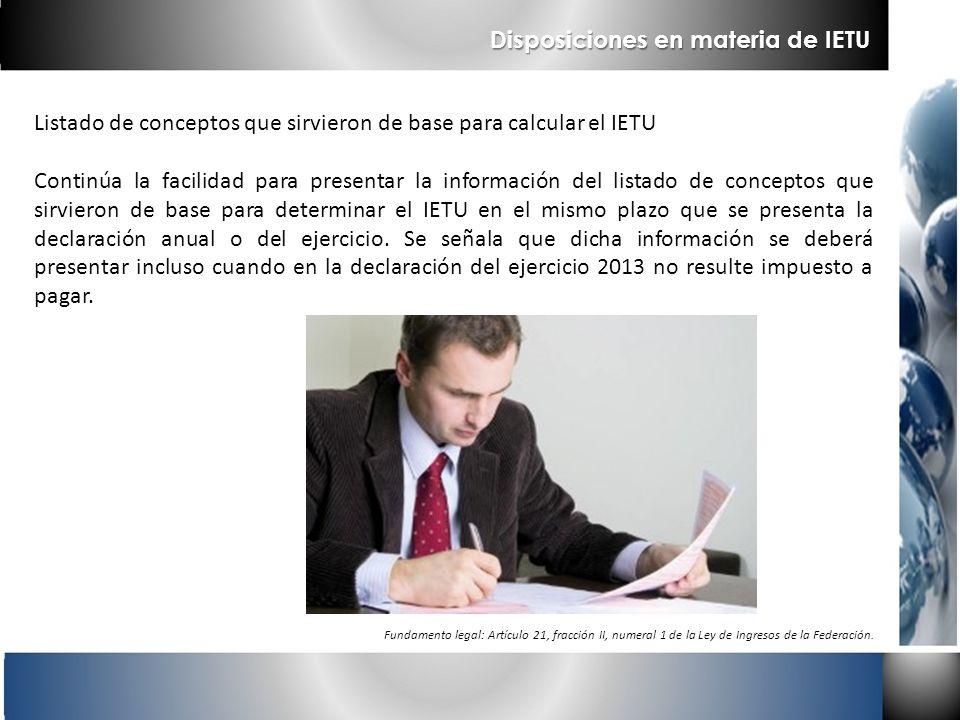 Disposiciones en materia de IETU