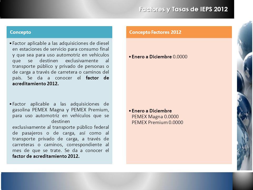 Factores y Tasas de IEPS 2012