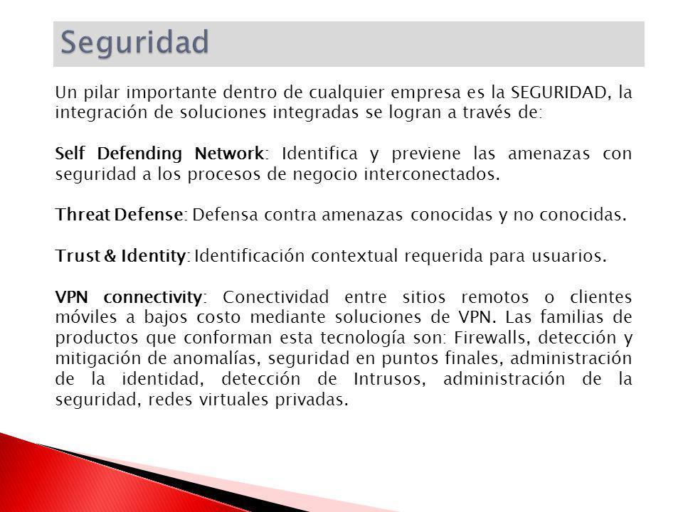 Seguridad Un pilar importante dentro de cualquier empresa es la SEGURIDAD, la integración de soluciones integradas se logran a través de: