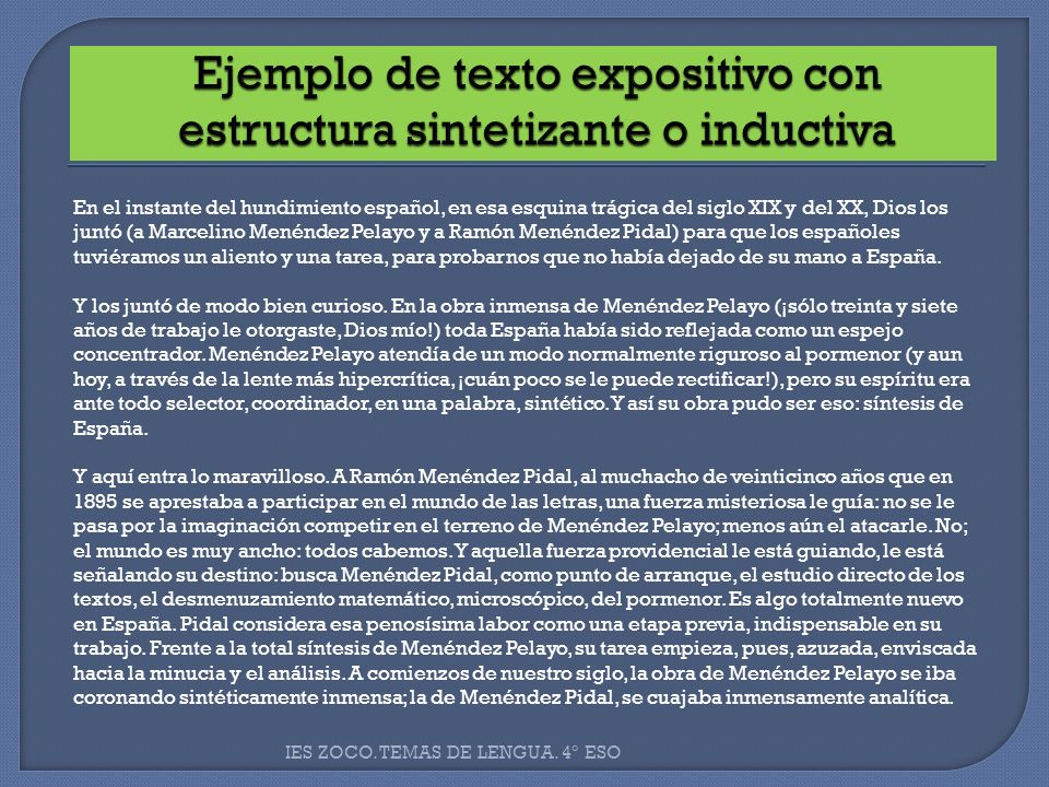 Ejemplo de texto expositivo con estructura sintetizante o inductiva