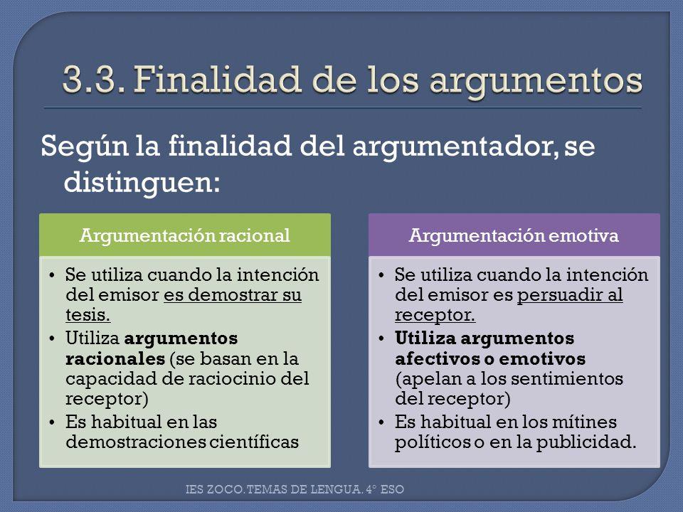 3.3. Finalidad de los argumentos