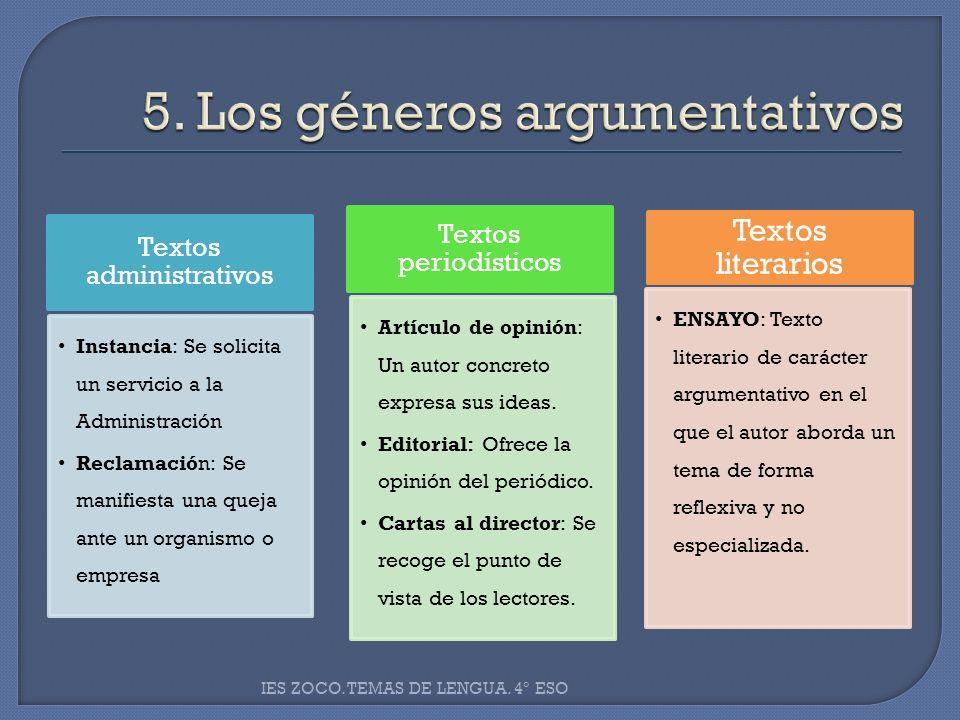 5. Los géneros argumentativos