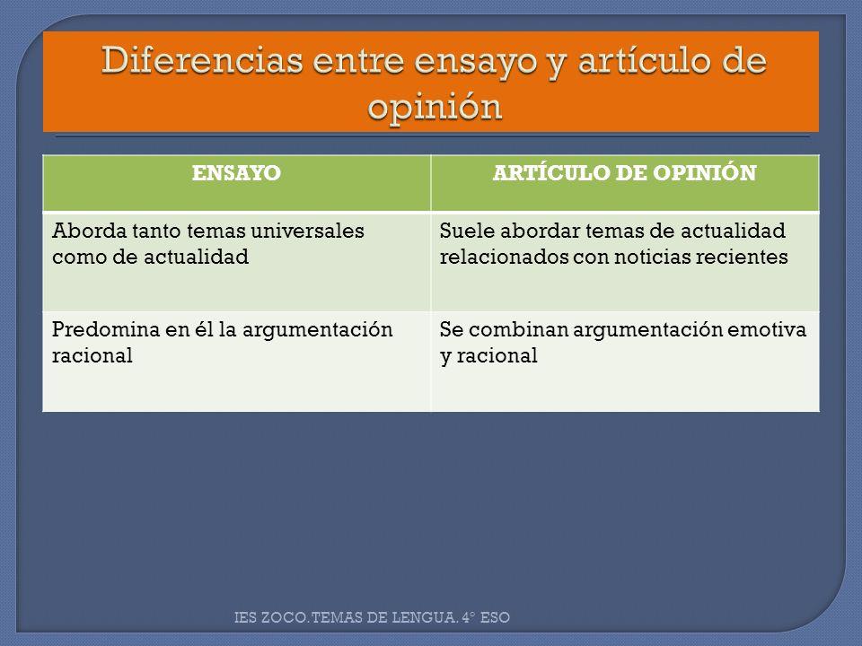 Diferencias entre ensayo y artículo de opinión