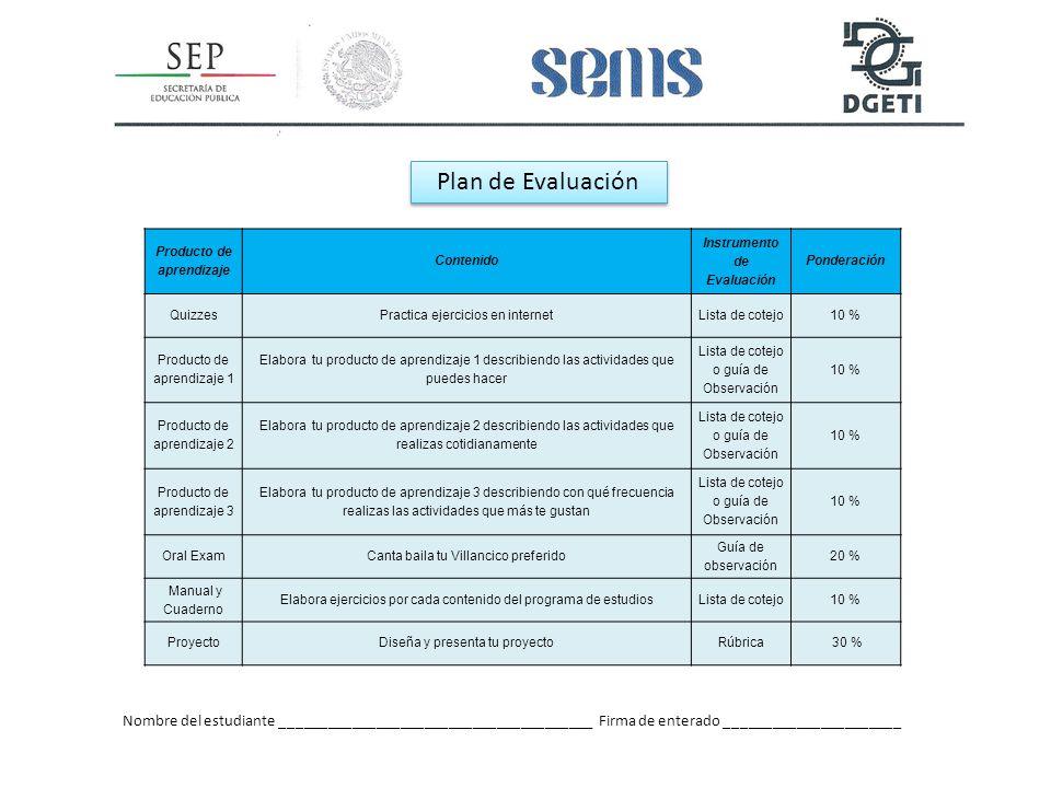 Producto de aprendizaje Instrumento de Evaluación