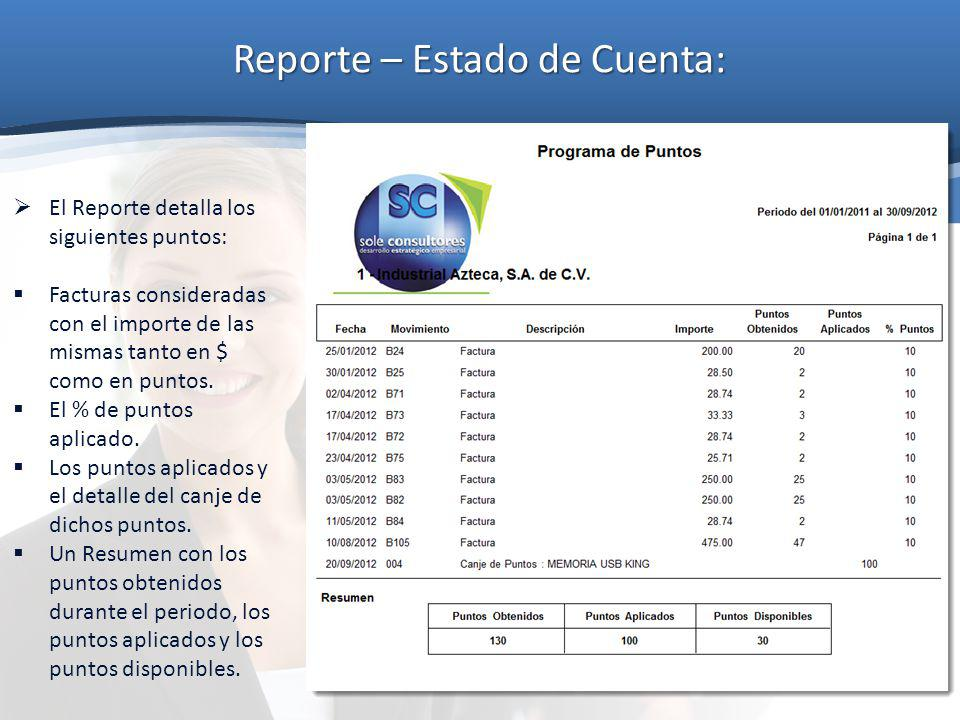 Reporte – Estado de Cuenta: