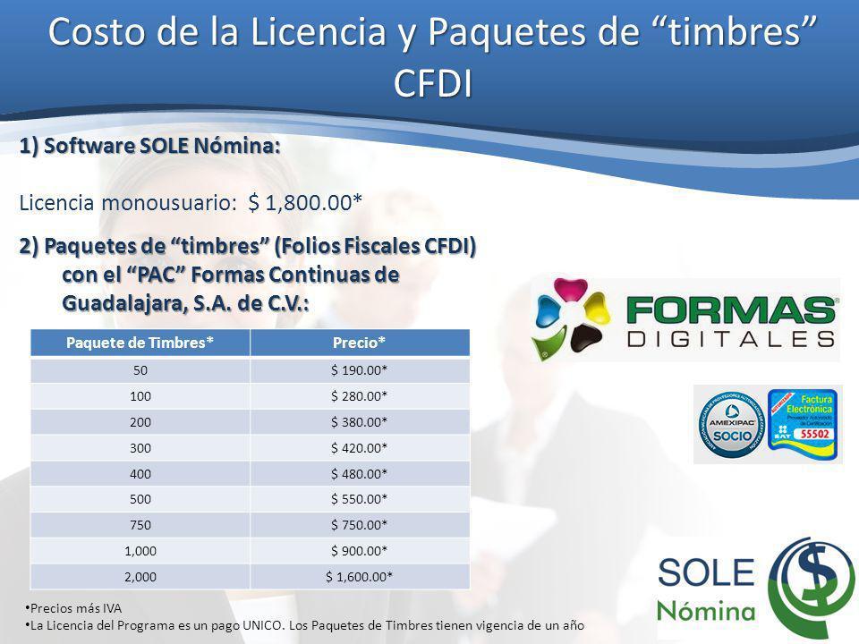 Costo de la Licencia y Paquetes de timbres CFDI