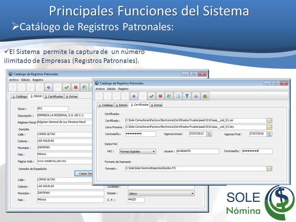 Principales Funciones del Sistema