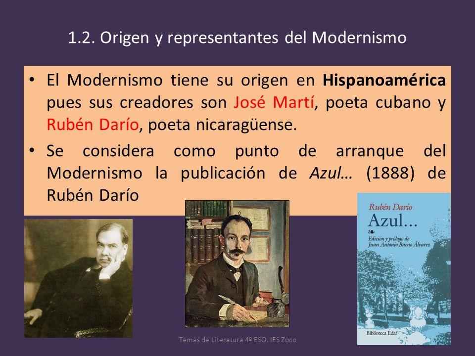 1.2. Origen y representantes del Modernismo