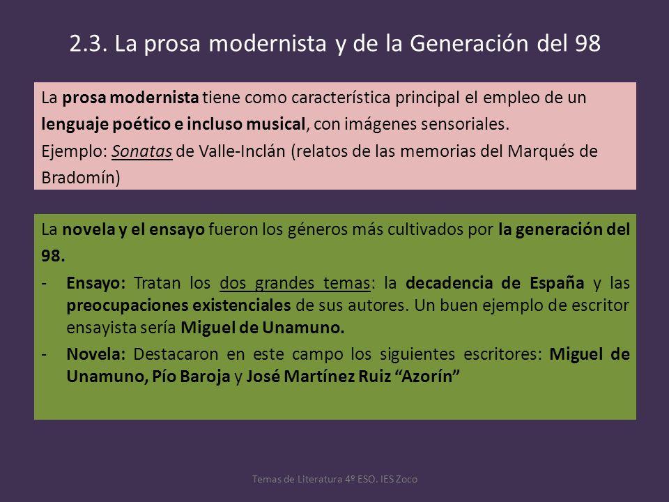 2.3. La prosa modernista y de la Generación del 98