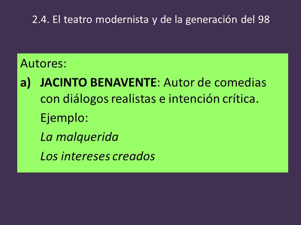 2.4. El teatro modernista y de la generación del 98