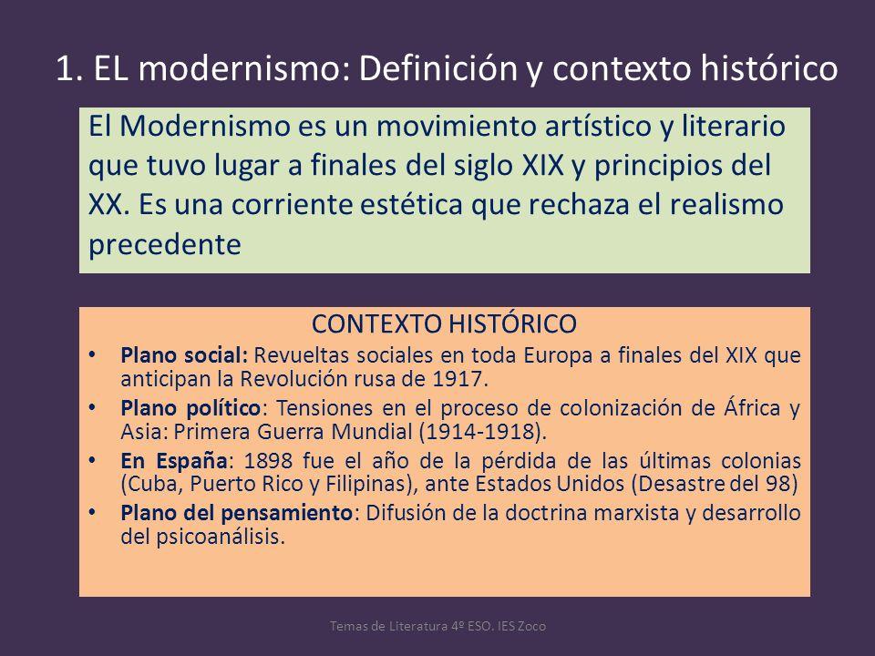 1. EL modernismo: Definición y contexto histórico