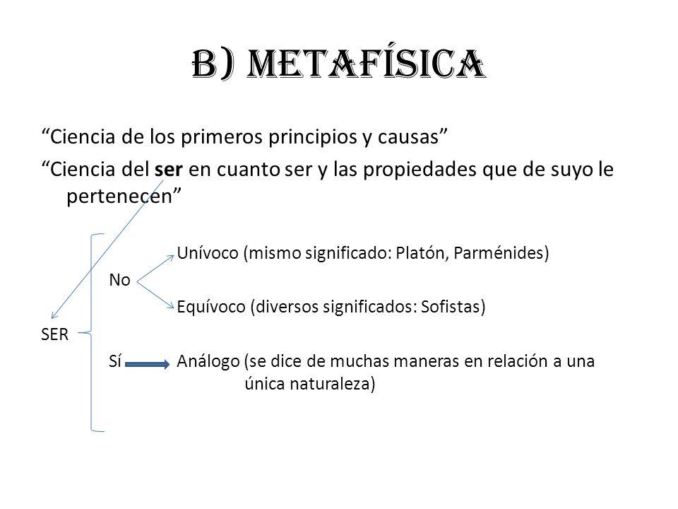 b) metafísica Ciencia de los primeros principios y causas