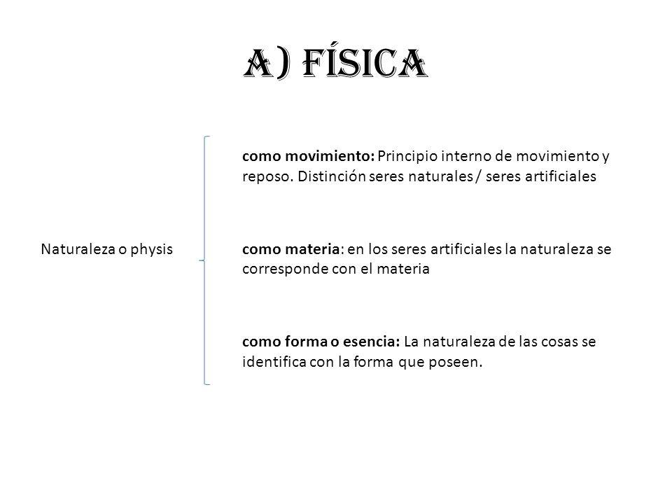 a) FÍSICA como movimiento: Principio interno de movimiento y reposo. Distinción seres naturales / seres artificiales.