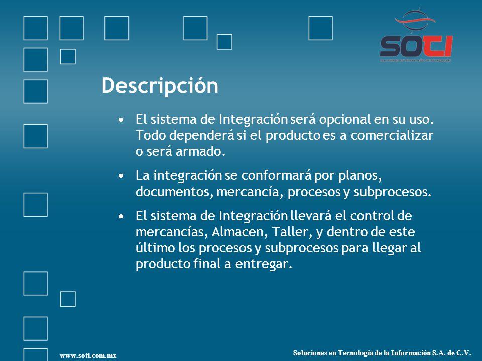 Descripción El sistema de Integración será opcional en su uso. Todo dependerá si el producto es a comercializar o será armado.