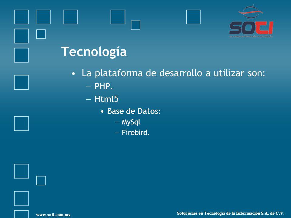 Tecnología La plataforma de desarrollo a utilizar son: PHP. Html5