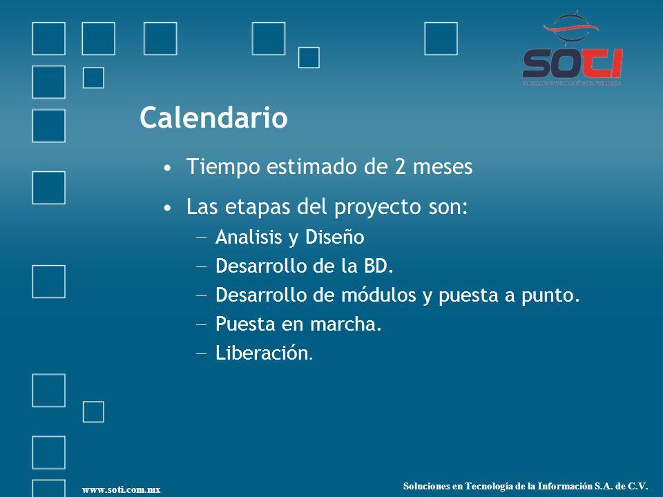 Calendario Tiempo estimado de 2 meses Las etapas del proyecto son: