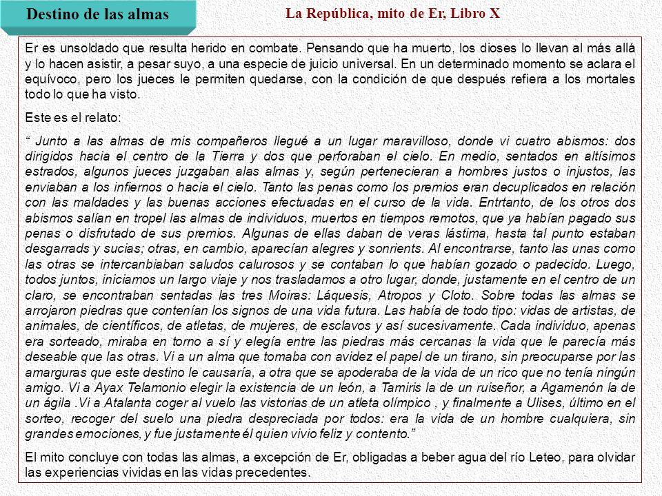 Destino de las almas La República, mito de Er, Libro X