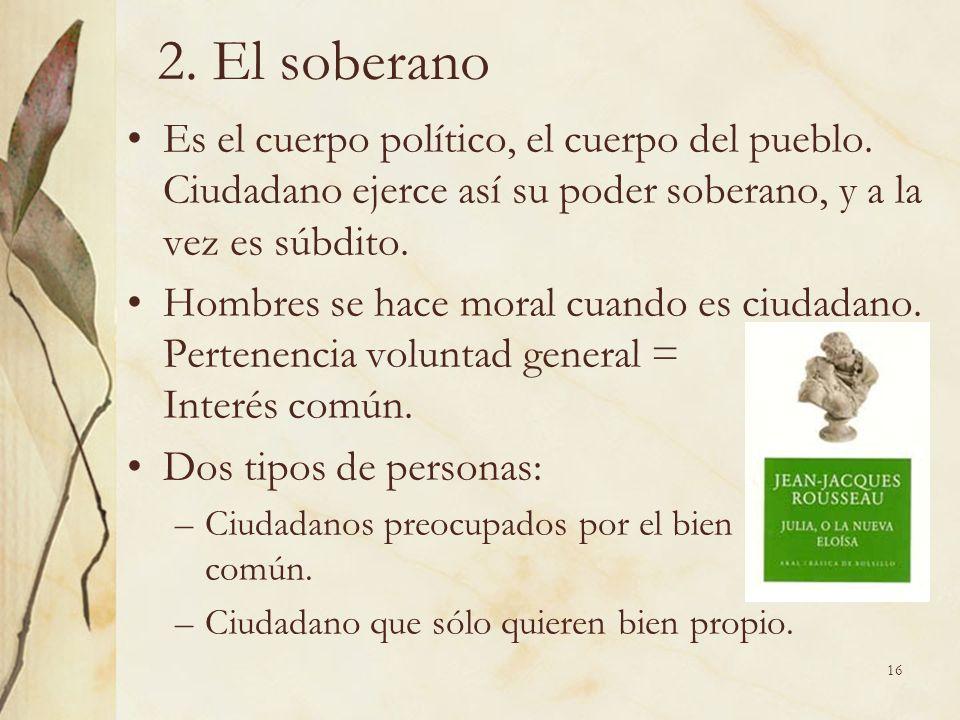 2. El soberano Es el cuerpo político, el cuerpo del pueblo. Ciudadano ejerce así su poder soberano, y a la vez es súbdito.