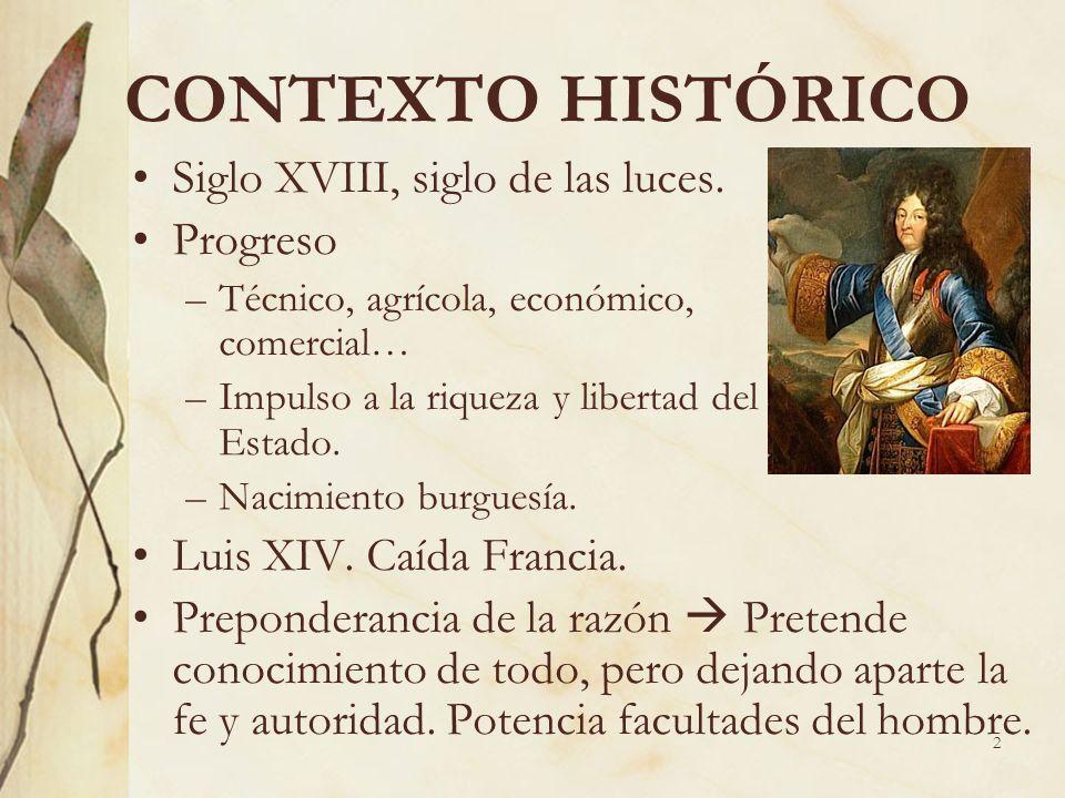 CONTEXTO HISTÓRICO Siglo XVIII, siglo de las luces. Progreso