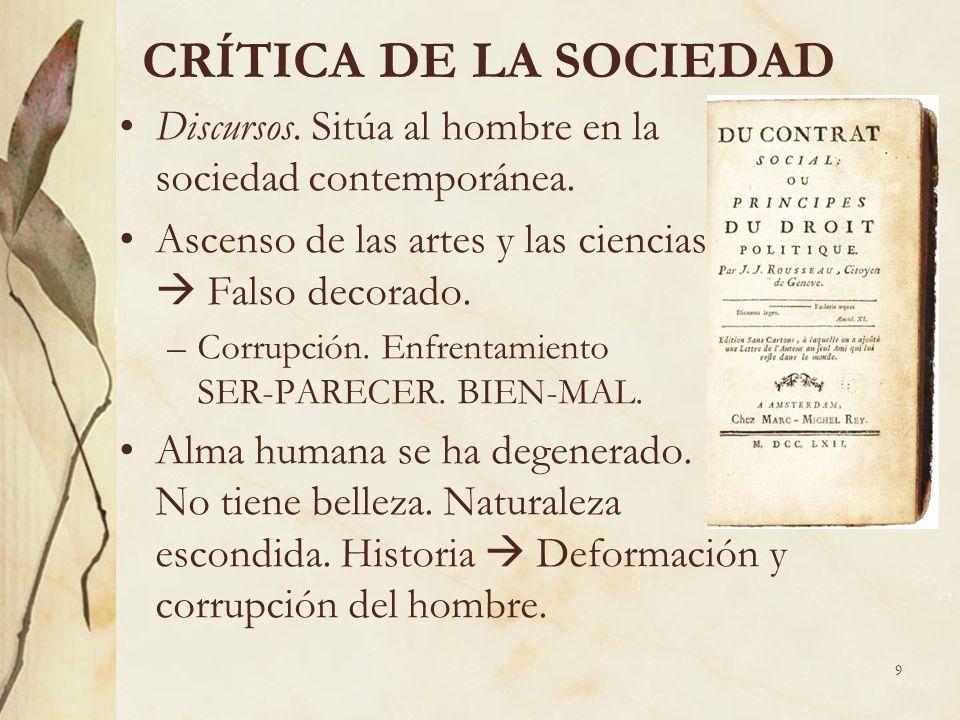 CRÍTICA DE LA SOCIEDAD Discursos. Sitúa al hombre en la sociedad contemporánea.