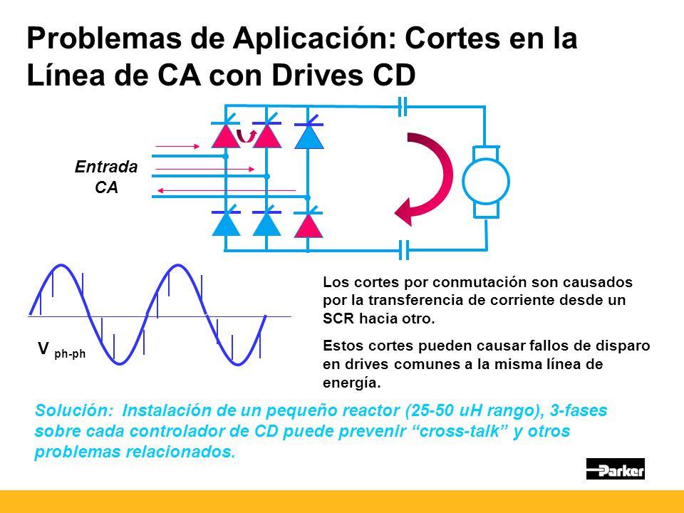 Problemas de Aplicación: Cortes en la Línea de CA con Drives CD