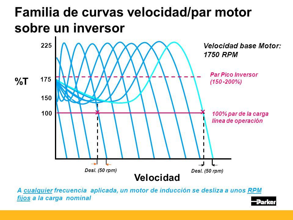 Familia de curvas velocidad/par motor sobre un inversor