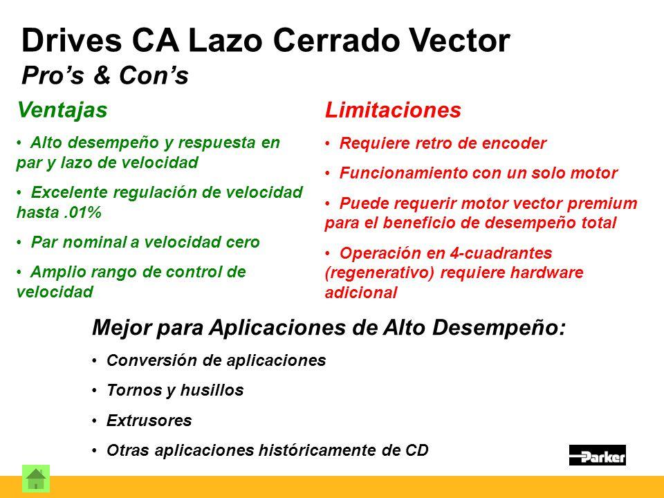 Drives CA Lazo Cerrado Vector Pro's & Con's