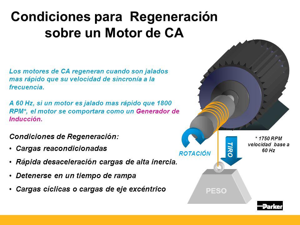 Condiciones para Regeneración sobre un Motor de CA