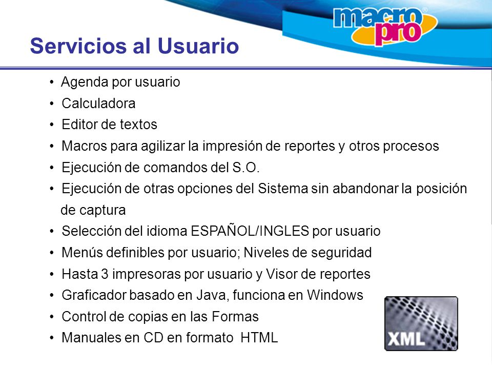 Servicios al Usuario Agenda por usuario Calculadora Editor de textos