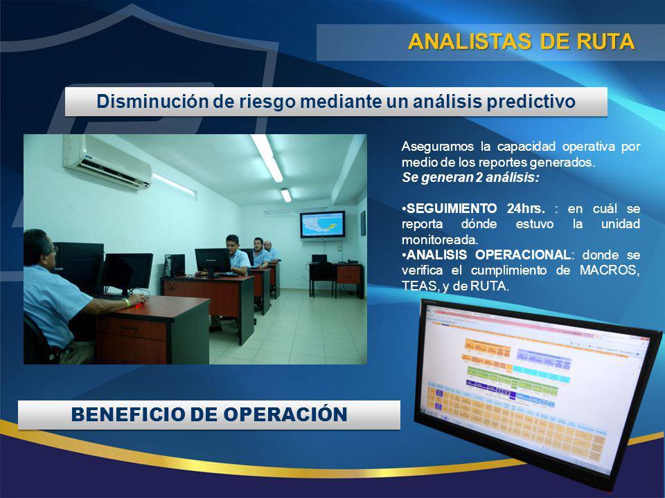 ANALISTAS DE RUTA Disminución de riesgo mediante un análisis predictivo. Aseguramos la capacidad operativa por medio de los reportes generados.