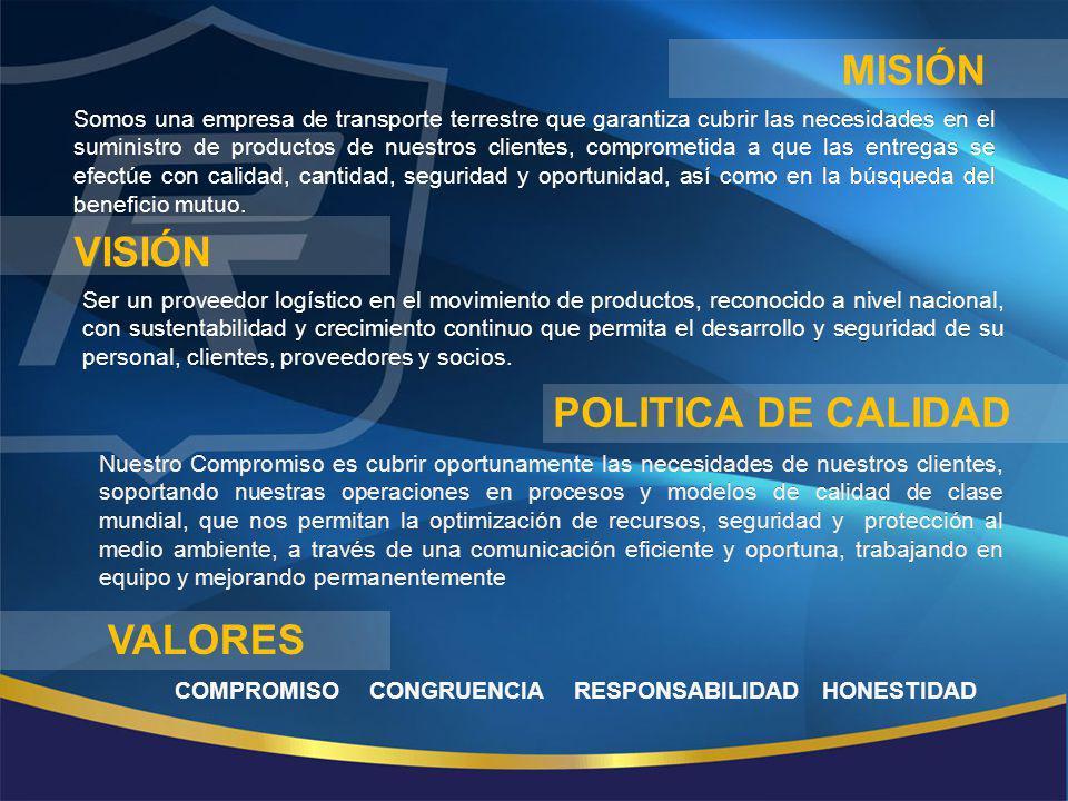 misión Visión POLITICA DE CALIDAD VALORES