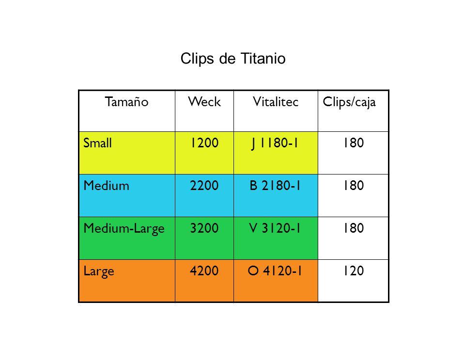 Clips de Titanio Tamaño Weck Vitalitec Clips/caja Small 1200 J 1180-1