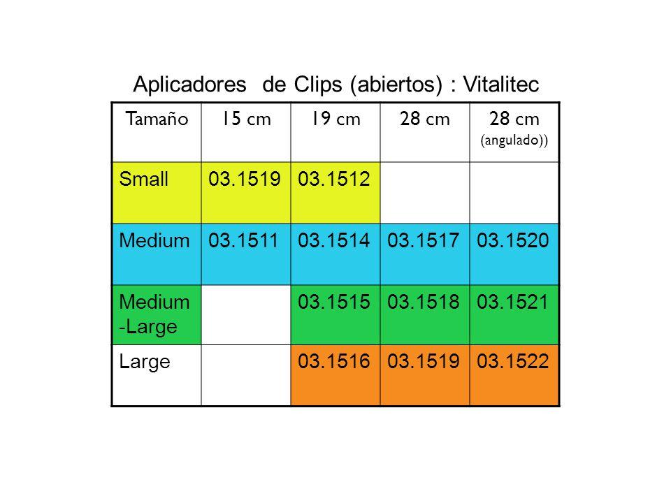 Aplicadores de Clips (abiertos) : Vitalitec