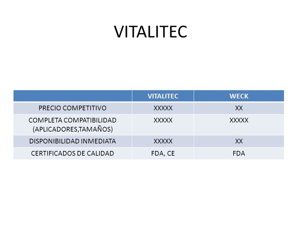 VITALITEC VITALITEC WECK PRECIO COMPETITIVO XXXXX XX