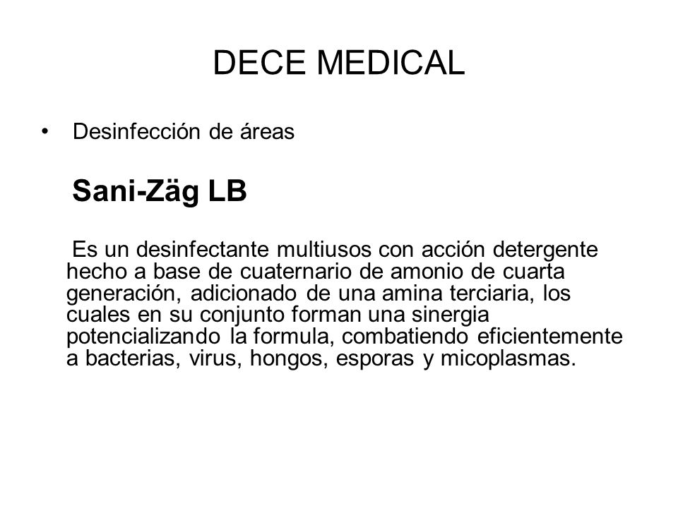 DECE MEDICAL Desinfección de áreas Sani-Zäg LB