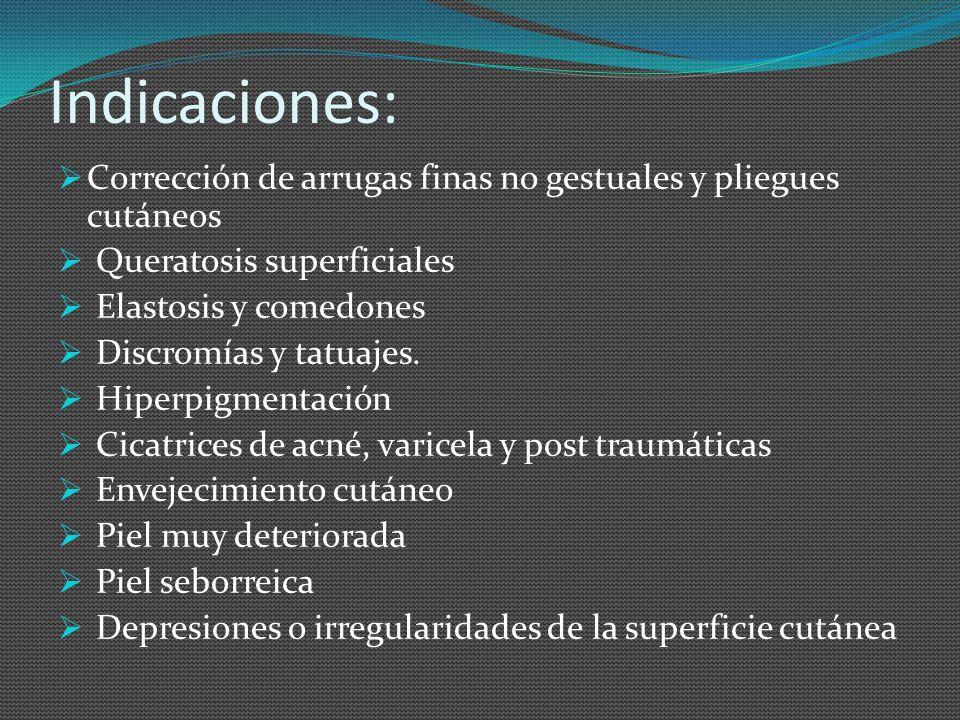 Indicaciones: Corrección de arrugas finas no gestuales y pliegues cutáneos. Queratosis superficiales.