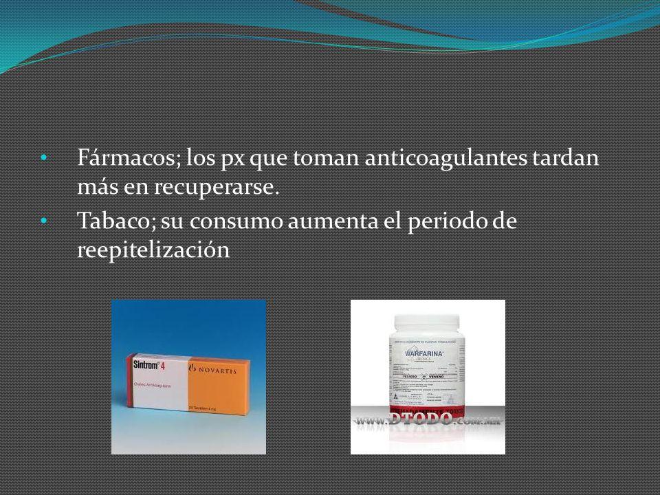 Fármacos; los px que toman anticoagulantes tardan más en recuperarse.