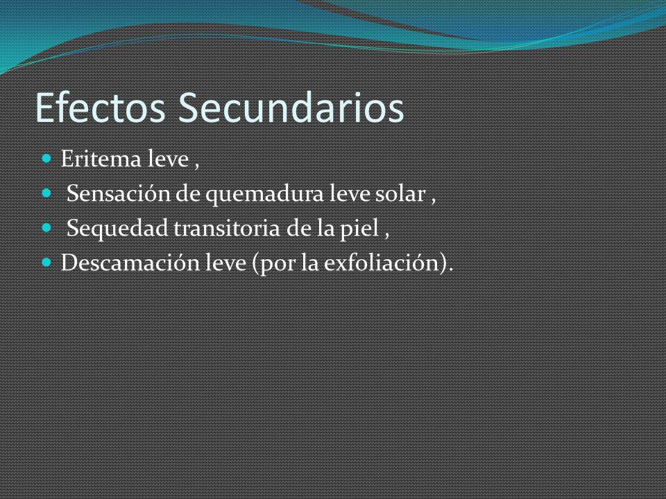 Efectos Secundarios Eritema leve , Sensación de quemadura leve solar ,