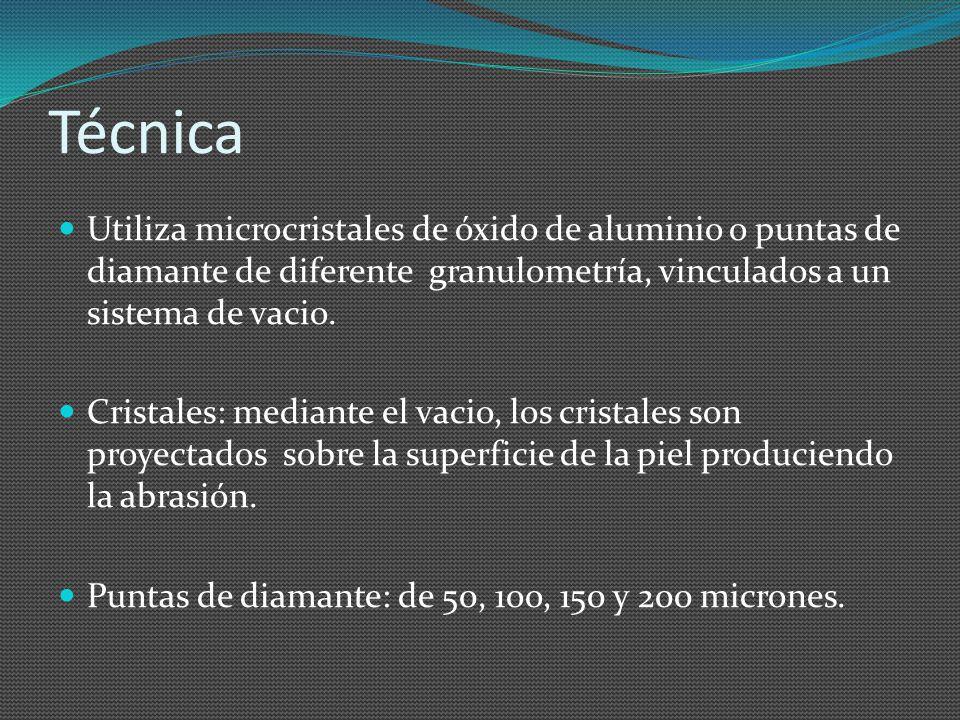 Técnica Utiliza microcristales de óxido de aluminio o puntas de diamante de diferente granulometría, vinculados a un sistema de vacio.